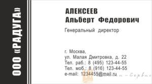 визитка черно-белая 01-02