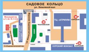 схема прохода в офис от метро курская